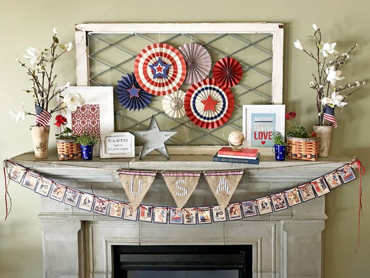 patriotic mantel decor ideas halfpint design loving the more rustic americana decor for my fourth of july mantel red white and blue 4th of july