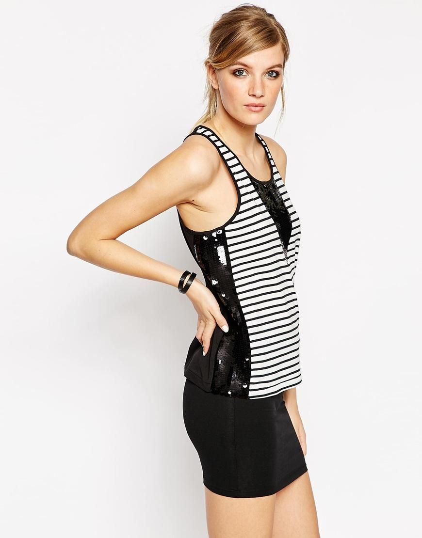 American Retro | American Retro Harriet Striped Tank With Sequin Inserts at ASOS