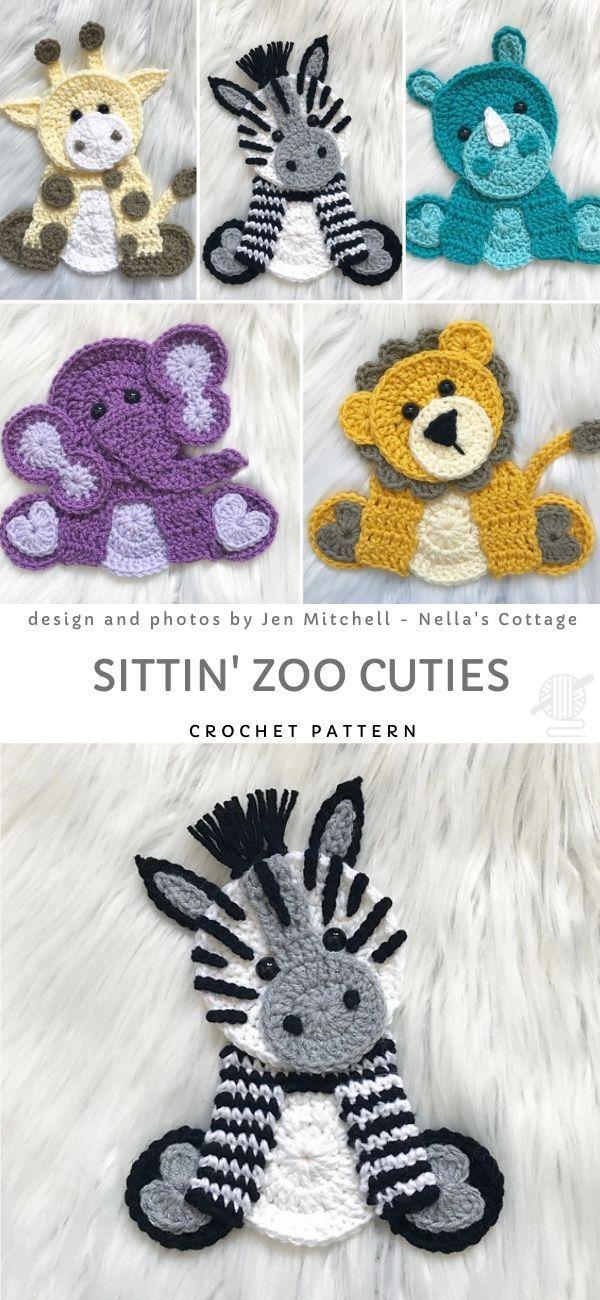 Sittin Zoo Cuties Crochet Pattern Crochet Motif Patterns Easy Crochet Crochet Applique Patterns Free