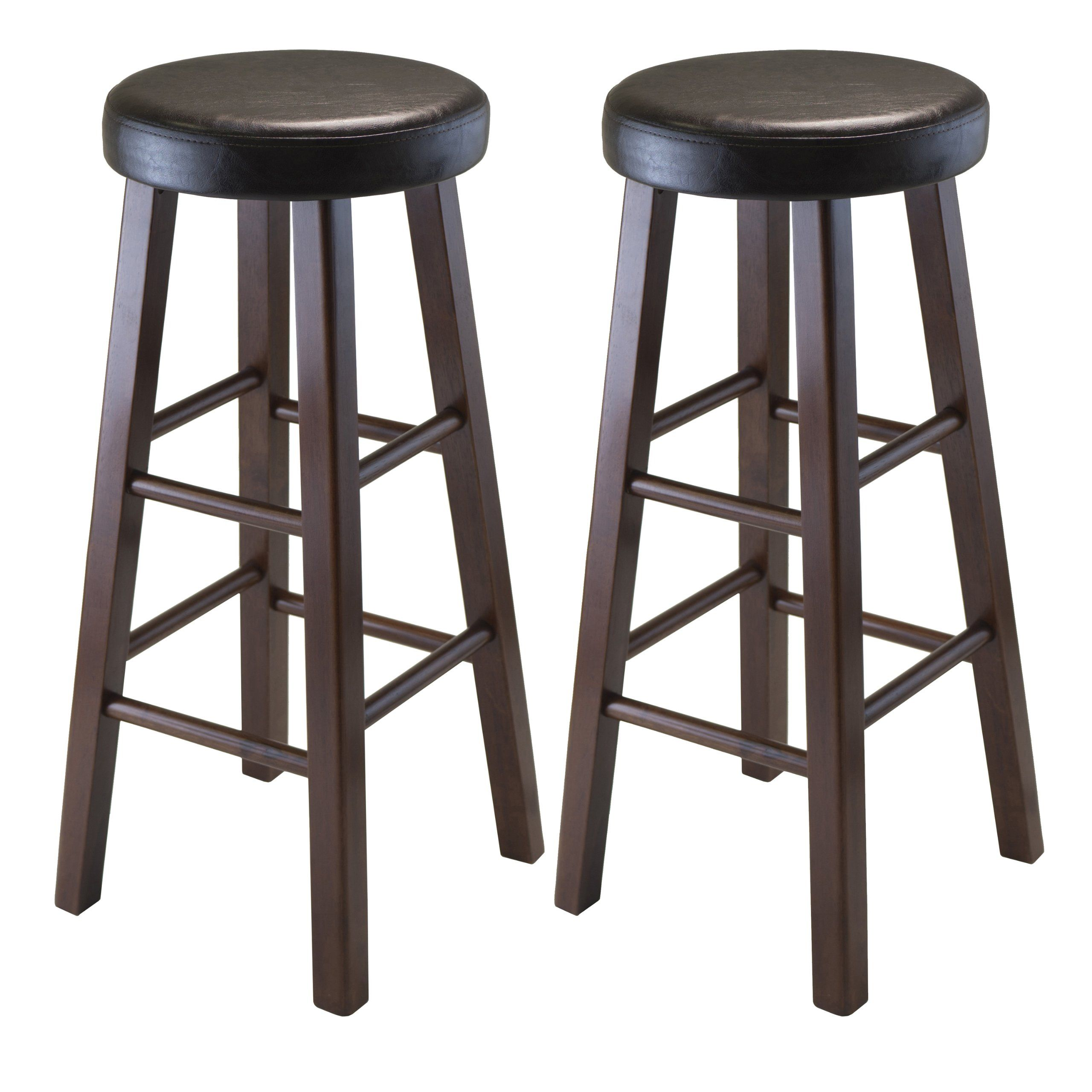 Winsome Wood Marta Assembled Round Bar Stool With Pu Leather Cushion Seat And Square Legs 29 Inch Set Of 2 Bar Stools Round Bar Stools Winsome Wood