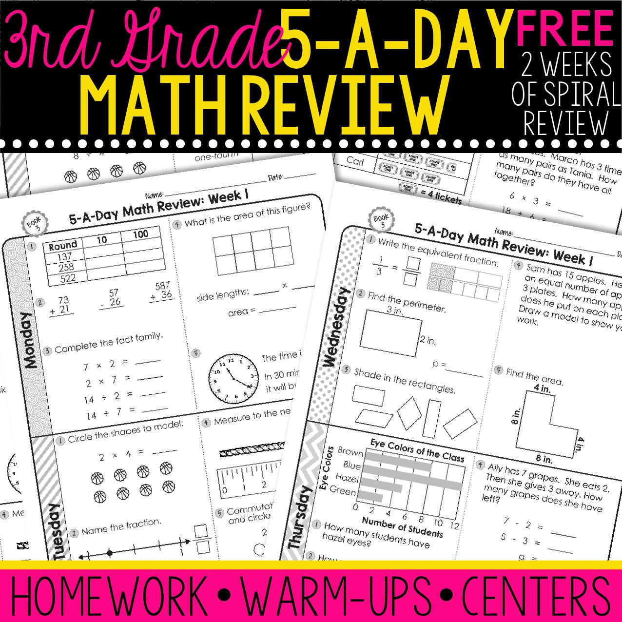 FREE 3rd Grade Daily Math Spiral Review • Teacher Thrive   Math spiral  review [ 1276 x 1276 Pixel ]