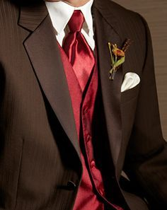 Red And Brown Wedding Groomsmen