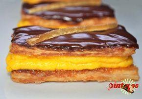milhojas de crema de naranja y chocolate