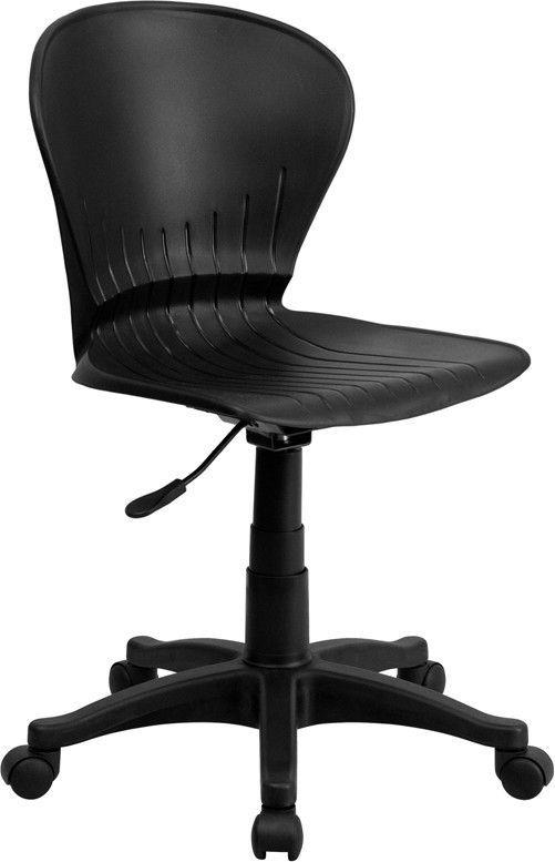Flash Furniture RUT-A103-BK-GG Mid-Back Black Plastic Swivel Task Chair