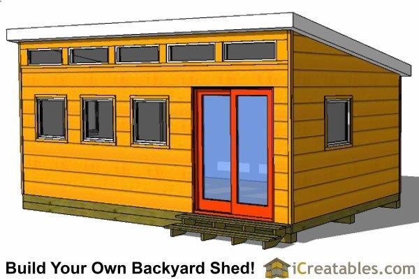 12x20 modern studio shed plan front