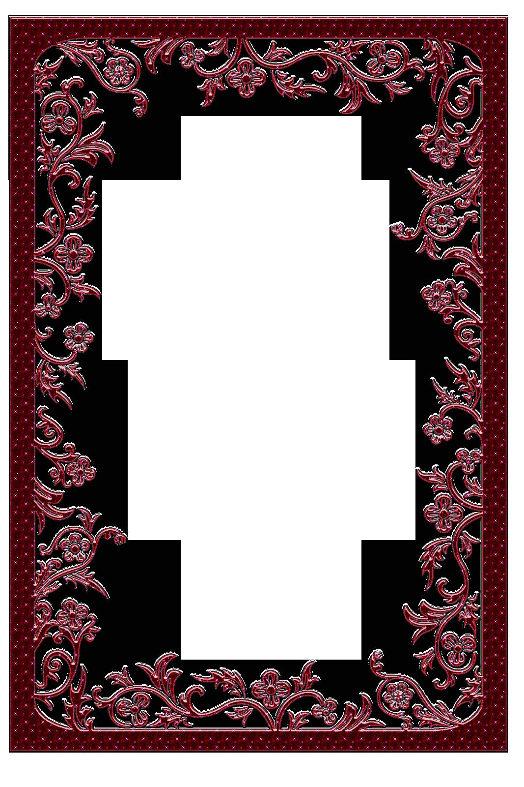 Large Red Transparent Frame Floral Border Design Printable Frames Frame Border Design
