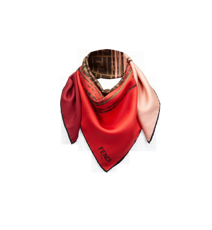 CHAL LOGOColorido chal grande de seda con motivo de logotipo Fendi característico de la firma  Made in Italy.