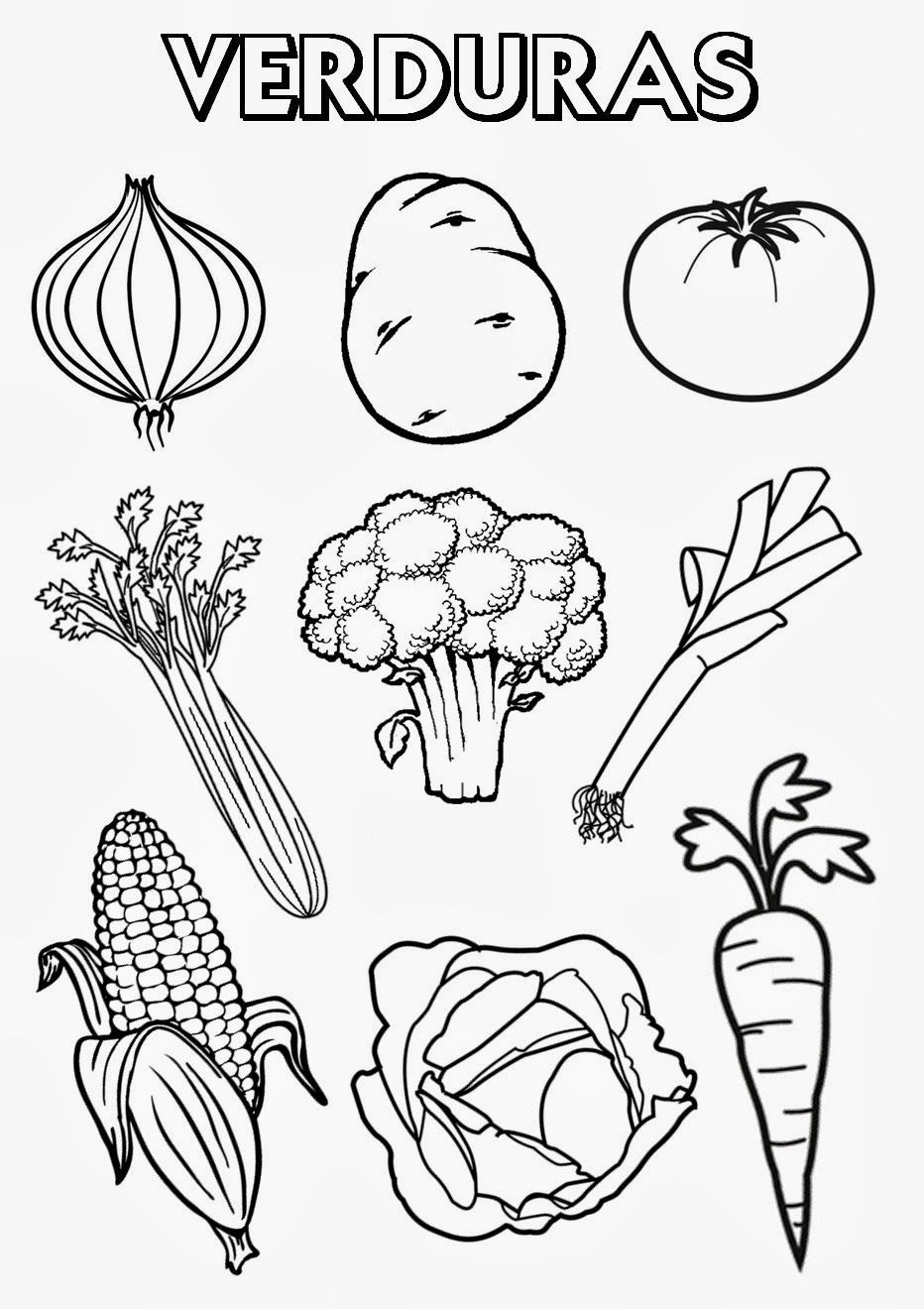 Frutas Y Verduras Para Colorear Buscar Con Google Proyecto Vegetable Coloring Pages Food Coloring Pages Fruit Coloring Pages