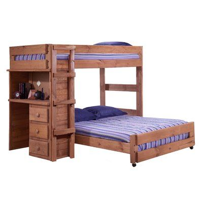 Twin Over Full Loft Bed With 5 Drawer Chest And Bookshelf End