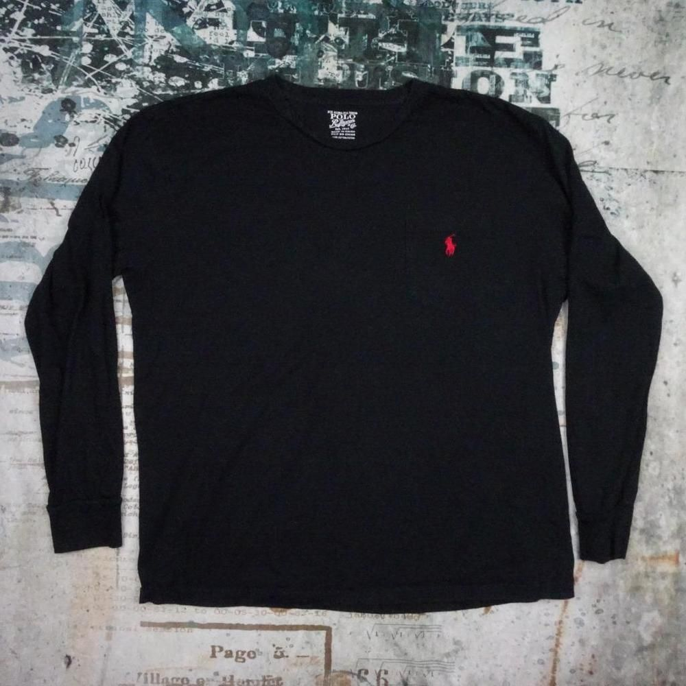 c330cd20 Polo Ralph Lauren Men's Medium Black Long Sleeve Red Pony Logo on Pocket T- shirt #PoloRalphLauren #BasicTee