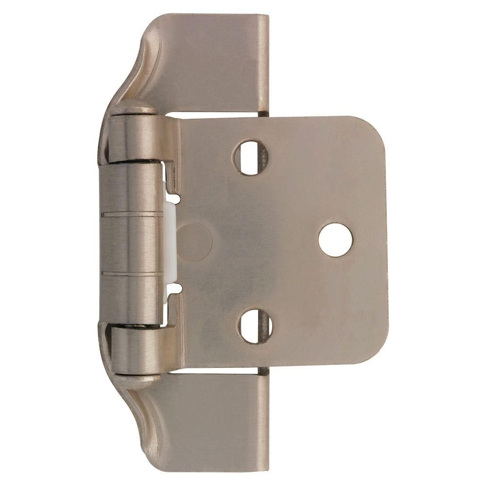 Liberty Satin Nickel Semi Wrap 1 2 In Overlay Cabinet Hinge 1 Pair H01915c Sn O The Home Depot In 2020 Overlay Cabinet Hinges Overlay Hinges Liberty Hardware