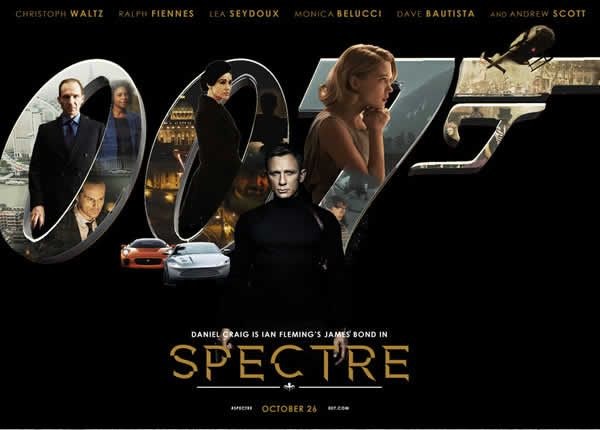 Spectre Is the twenty-fourth James Bond film. With Daniel Craig as James Bond Agent 007, Judi Dench, Monica Belucci, Christoph Waltz, and more