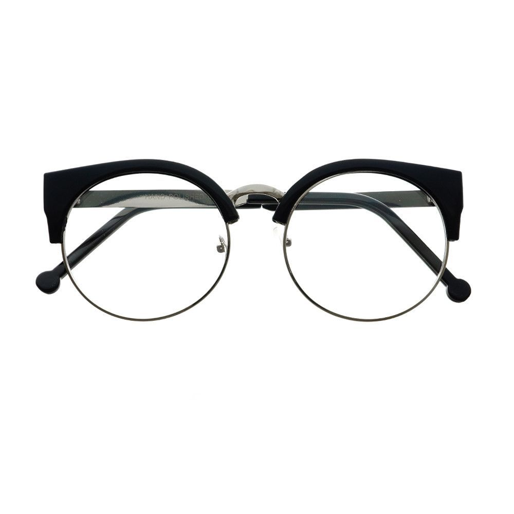 Womens Retro Vintage Style Clear Lens Half Frame Cat Eye Round ...