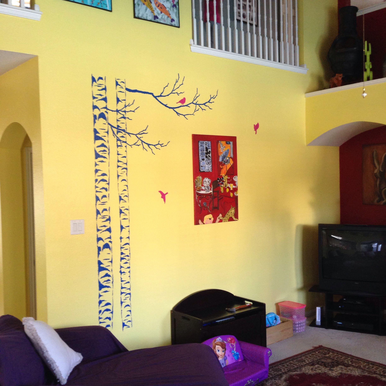 Yellow wall stencil art | Cool Stuff | Pinterest | Wall stenciling