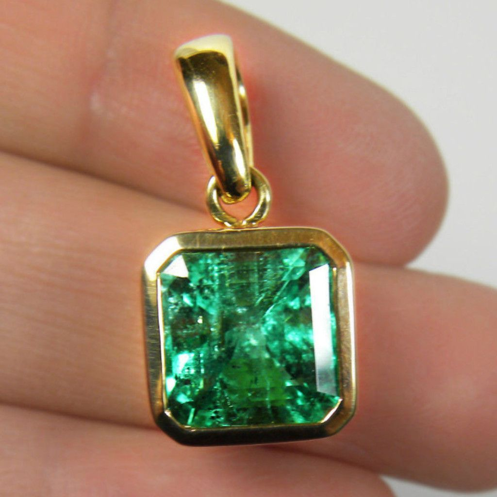 Cts aaaacolombian square emerald solitaire pendant emerald cut