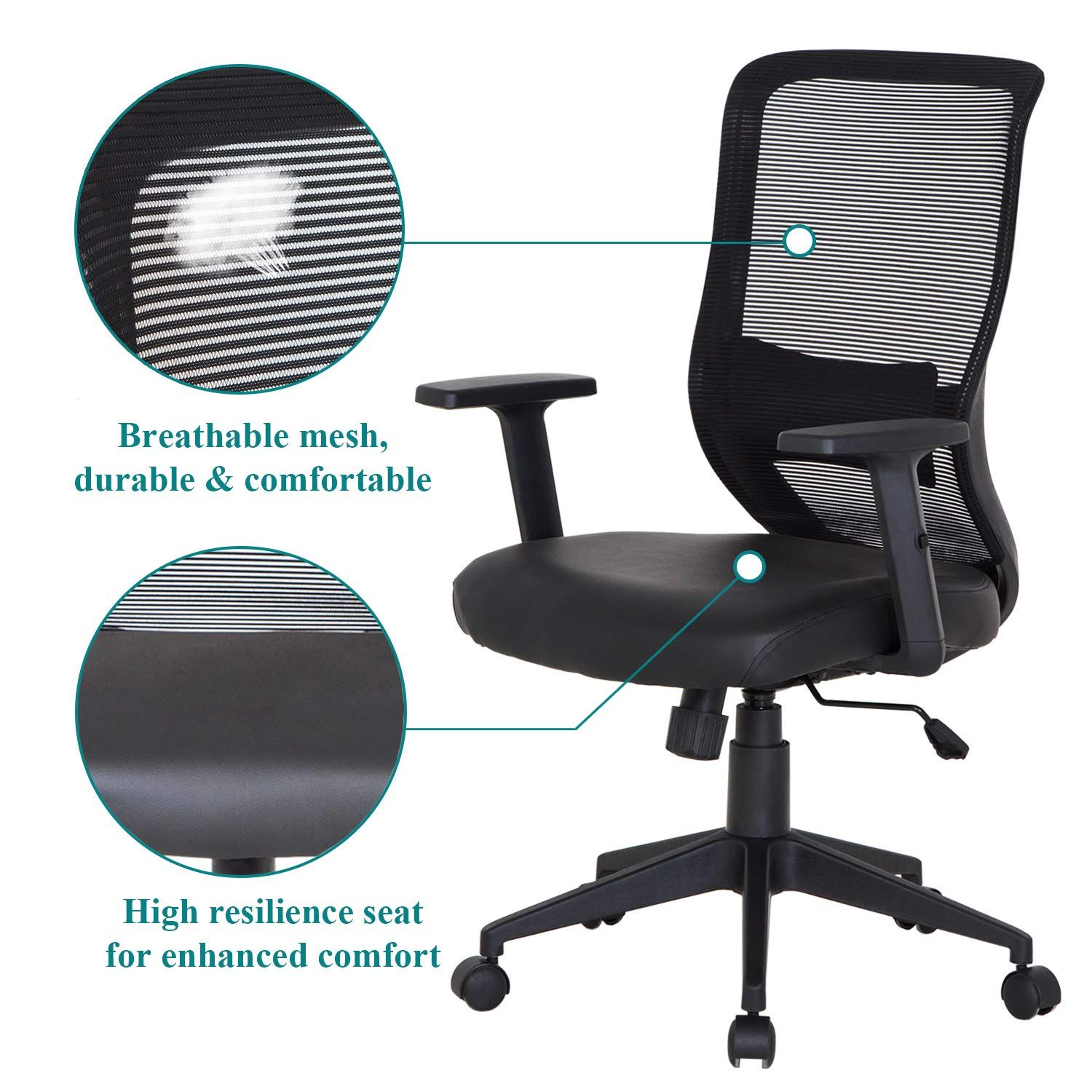 Vecelo Pu Cushion Home Office Chair For For Task Desk Work Black You Can Find Out More Details At The In 2020 Home Office Chairs Home Office Furniture Office Chair