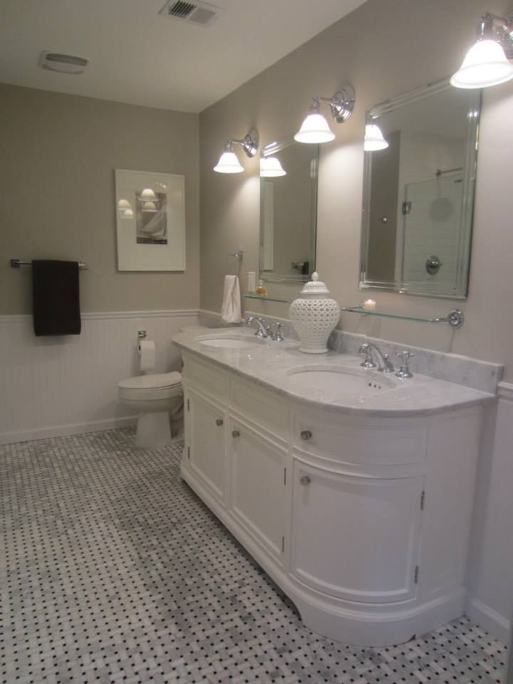 My Master Bath remodel: basketweave carrara marble tile floor, carrara marble vanity (base from Restoration Hardware), Rohl Country Bath faucets, Benjamin Moore Revere Pewter paint on walls, beveled white subway tiles in shower, beadboard wainscot