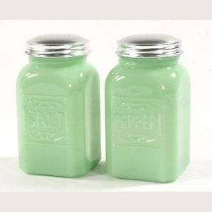 *Similar* Jade Green Square Salt Pepper Set of 2 Glass Shakers Embossed Jadeite Letters | eBay