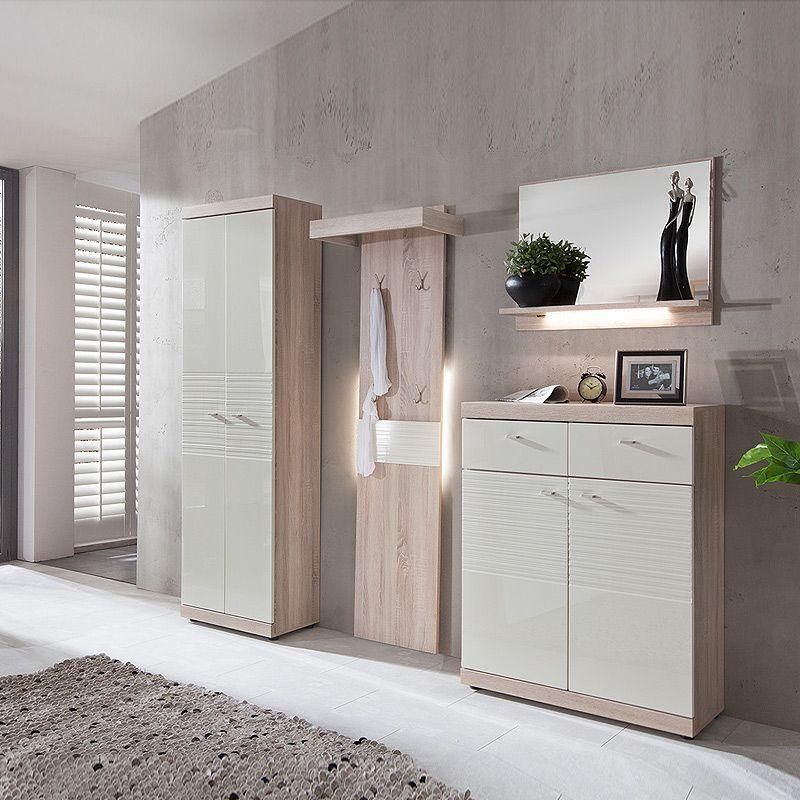 E Combuy Angebote Garderoben Set Spot226 Hochglanz Creme Weiss