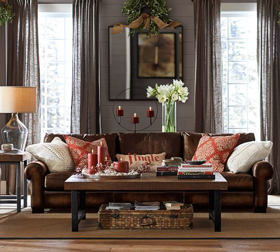 Turner Leather Roll Arm Sofa | Pottery Barn Grey Walls And Mirror Behind  The Sofa