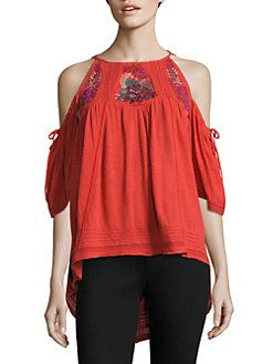 7deafc657c3db Free People - Fast Times Cold-Shoulder Embroidered Top