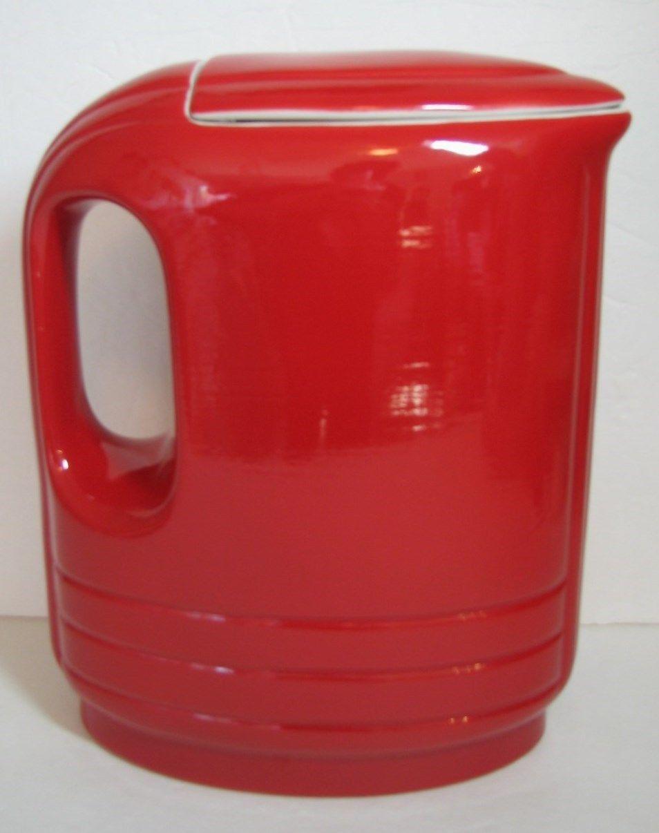 Vintage Hall Pottery Red Pitcher Art Deco Refrigerator Lid