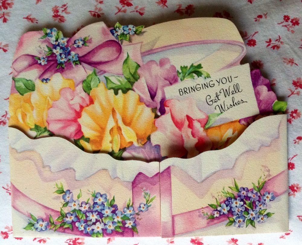 Vintage 1940s Die Cut Get Well Greeting Card Flower Box Violets And