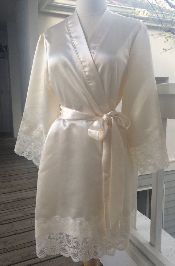 St. Tropez Brides Satin Robe with lace on sleeves | Pinterest | Robe ...