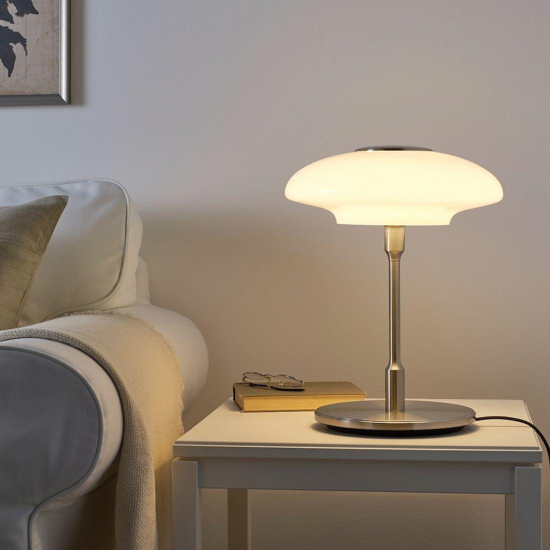 TÄLLBYN Bordlampe forniklet, opalhvit glass IKEA i 2020
