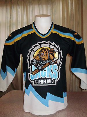 28d5685b VINTAGE CLEVELAND LUMBERJACKS BAUER STITCHED HOCKEY JERSEY youth XL ...