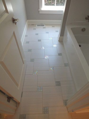 Bathroom Floor With Mosaic Inlays Beautiful Tile Layout And Contrast Between Semi Matte Shiny