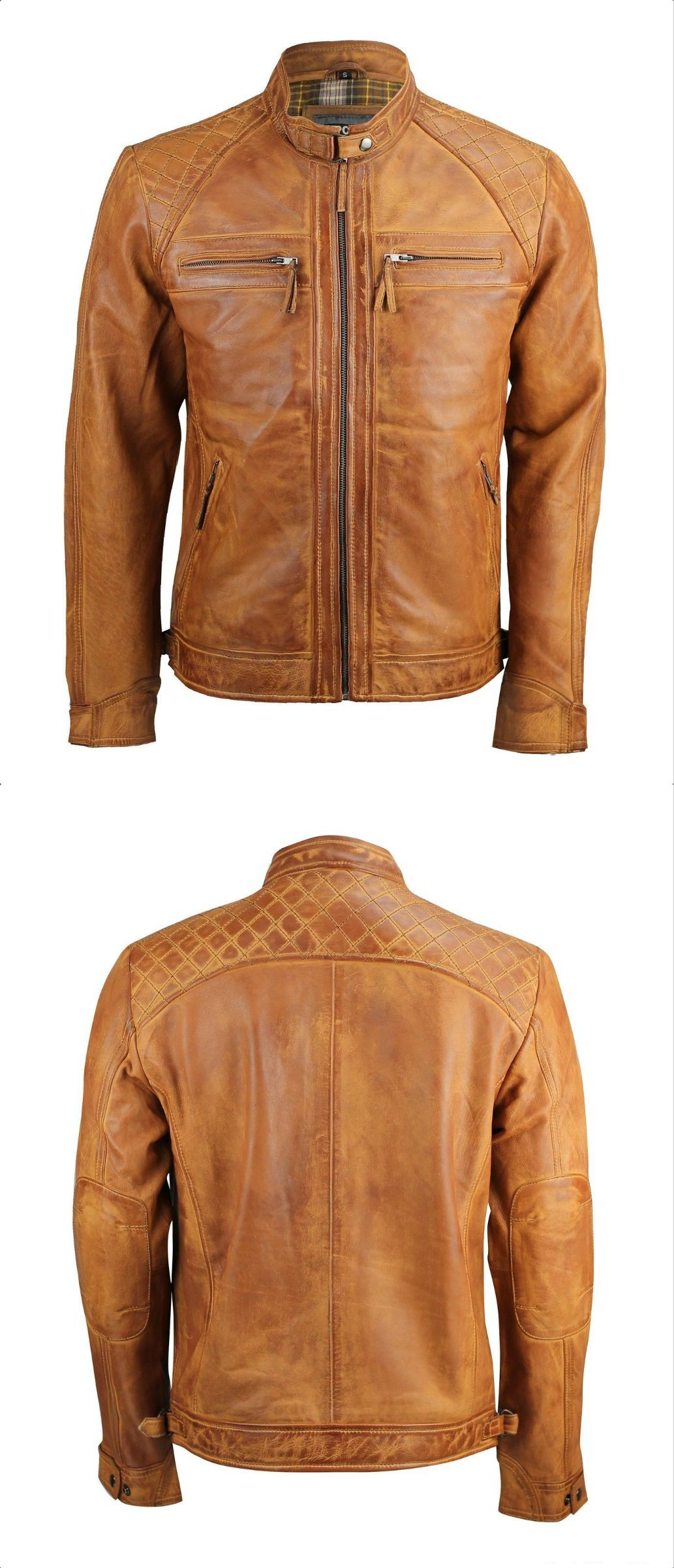 Details about Mens Retro Style Zipped Biker Jacket Real