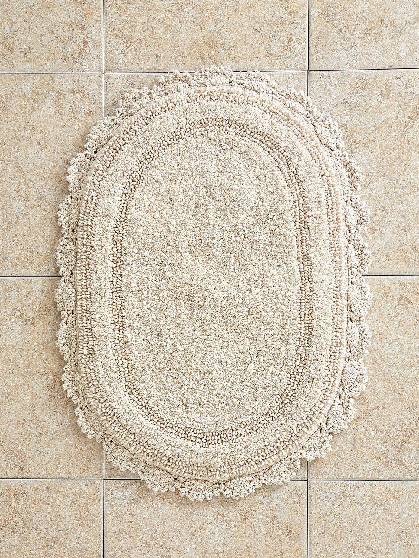 Comfort Step Bath Rug With Crocheted Border In 2021 Bathroom Rugs Bath Rug Patterned Bathroom Rugs [ 1500 x 1127 Pixel ]