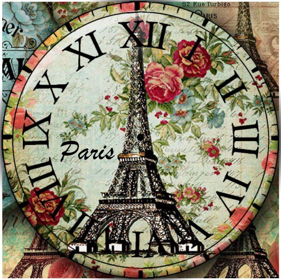 Reloj paris fondos de reloj vintage o shabby chic para - Laminas para pared ...