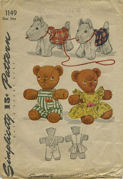 Vintage Sewing Pattern for Stuffed Toy Animals | Simplicity 1149 ...