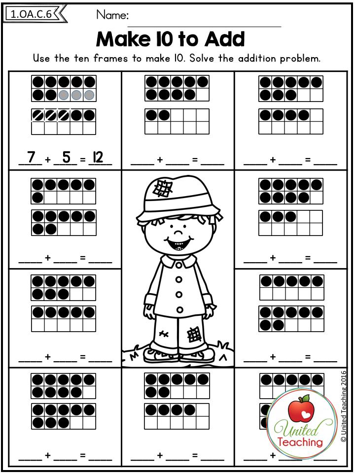 Fall Math Worksheets No Prep 1st Grade Math For First Grade