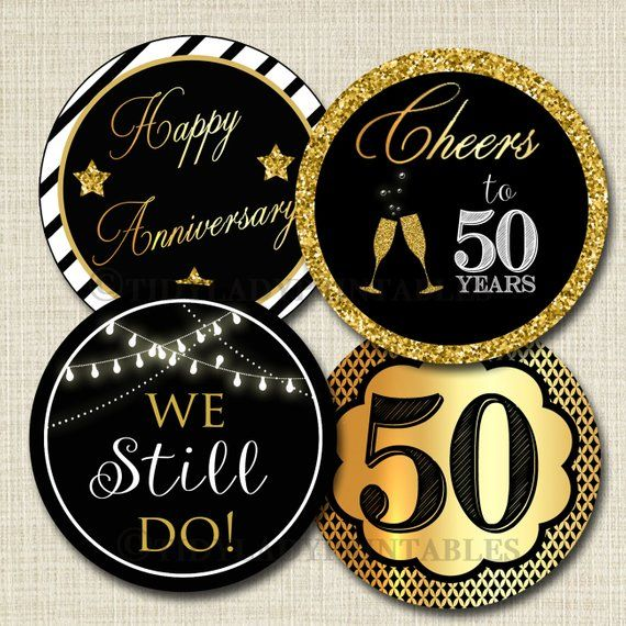 50th Anniversary Cupcake Toppers PRINTABLE Cheers To 50 Years Decoration Wedding An