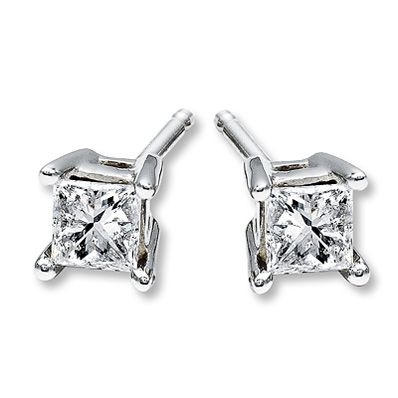 Diamond Earrings 1/2 ct tw Princess-cut 14K White Gold - My Valentine's from hubby!!!
