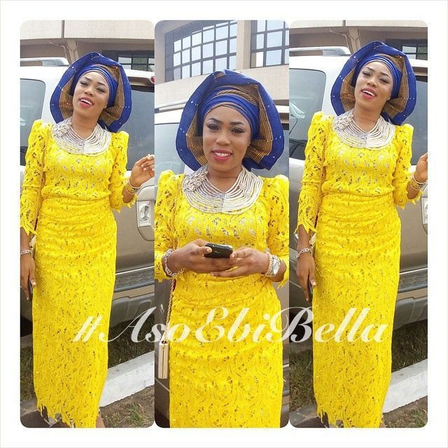 Yellow Lace Blouse & Wrapper & Blue & Gold Aso-Oke Gele