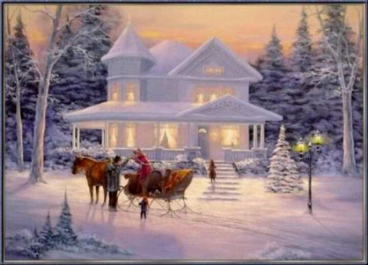 Currier Ives Animated Christmas Wallpaper Thomas Kinkade Christmas Christmas Wallpaper