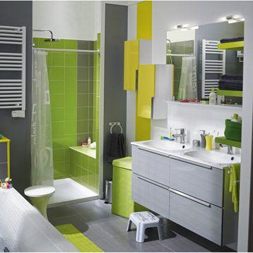 Meuble de salle de bains Remix, gris galet n°3 - leroy merlon
