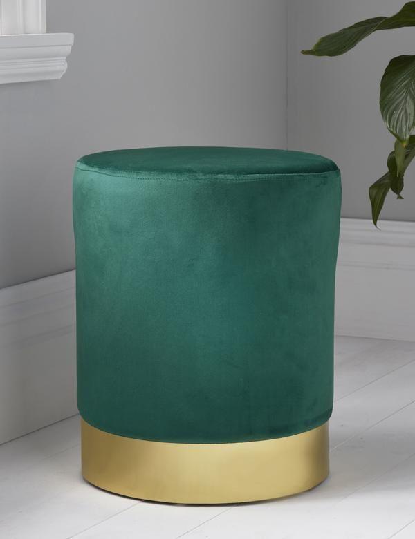 Remarkable Round Forest Green Velvet Gold Pouffe Footstool Art Deco Theyellowbook Wood Chair Design Ideas Theyellowbookinfo