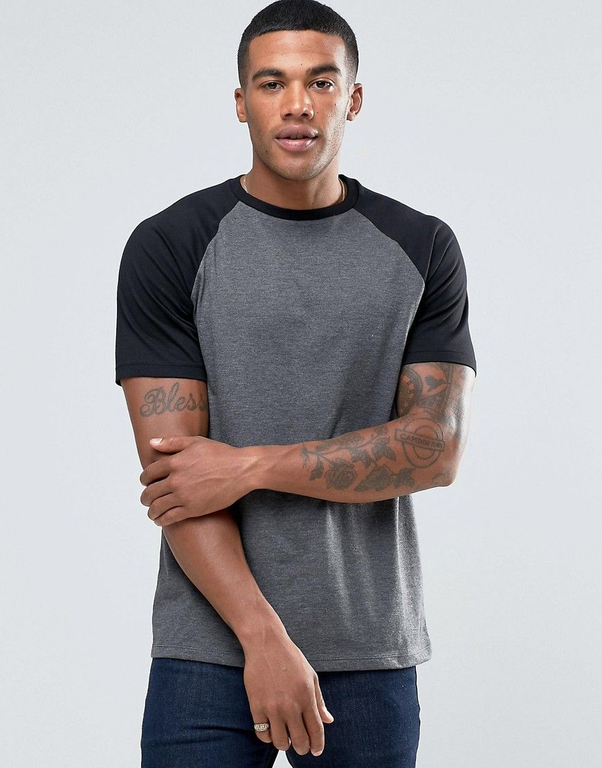 ASOS T-Shirt With Contrast Raglan Sleeves In Charcoal
