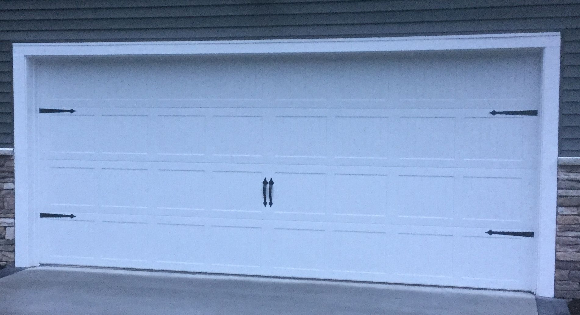 16x7 Model 5250 Stamped Steel Carriage Style Garage Door With Spade Decorative Hardware