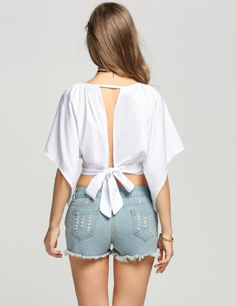 Backless Asymmetrical Sleeve Crop Top