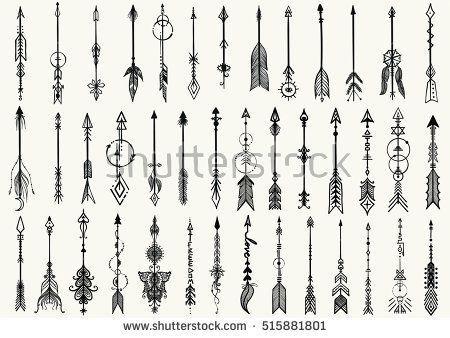 Große Reihe von handgezeichneten StammesPfeile für DesignElement und Tätowierung  Stockvektor  Sie finden diese Vektorgrafik bei Shutterstock und Sie find...