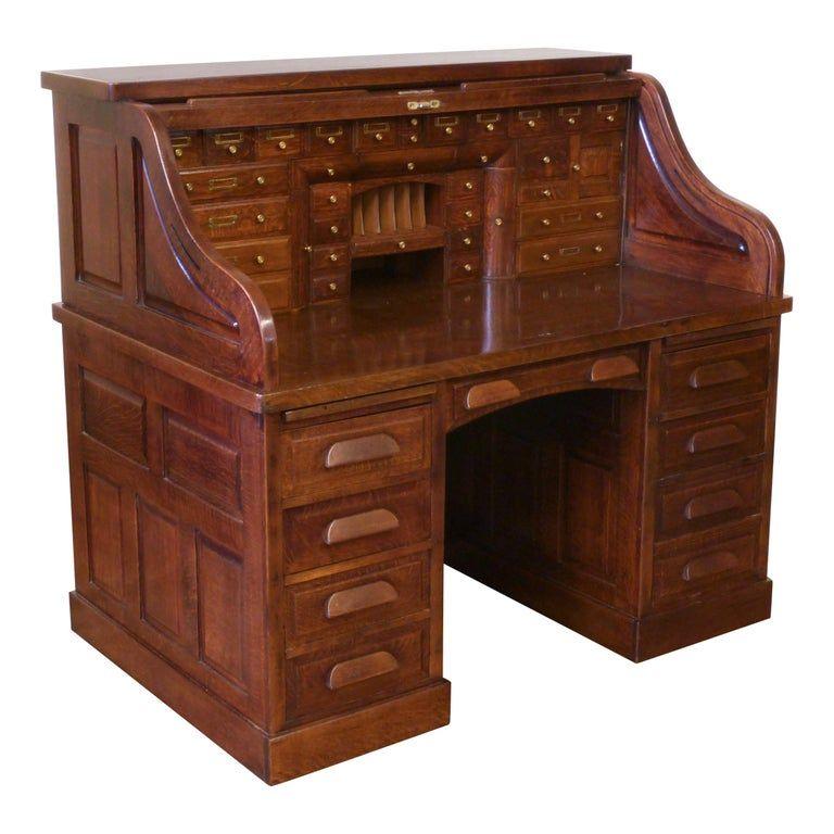 Edwardian Oak Roll Top Desk In 2021 Roll Top Desk Antique Writing Desk Dark Wooden Desk