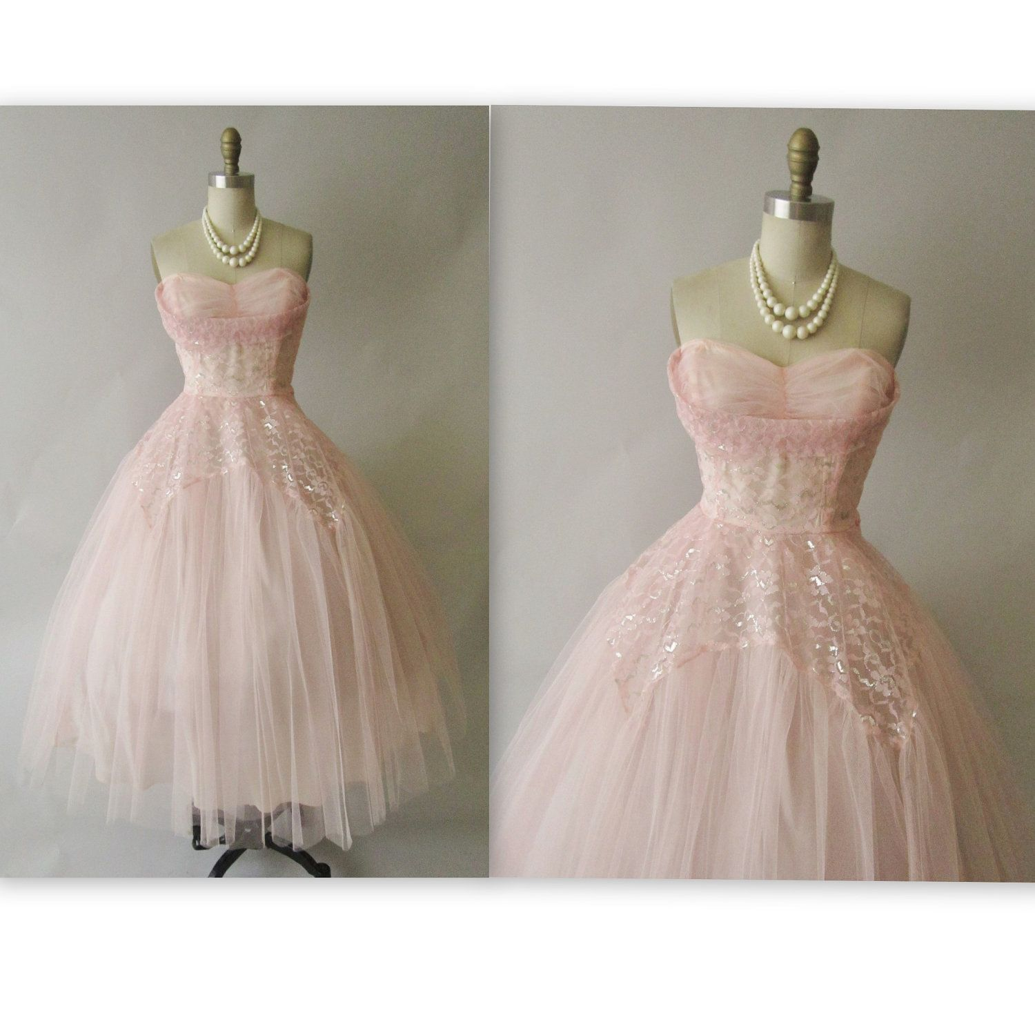 50's Prom Dress // Vintage 1950's Strapless Pink Silver Lace Tulle ...