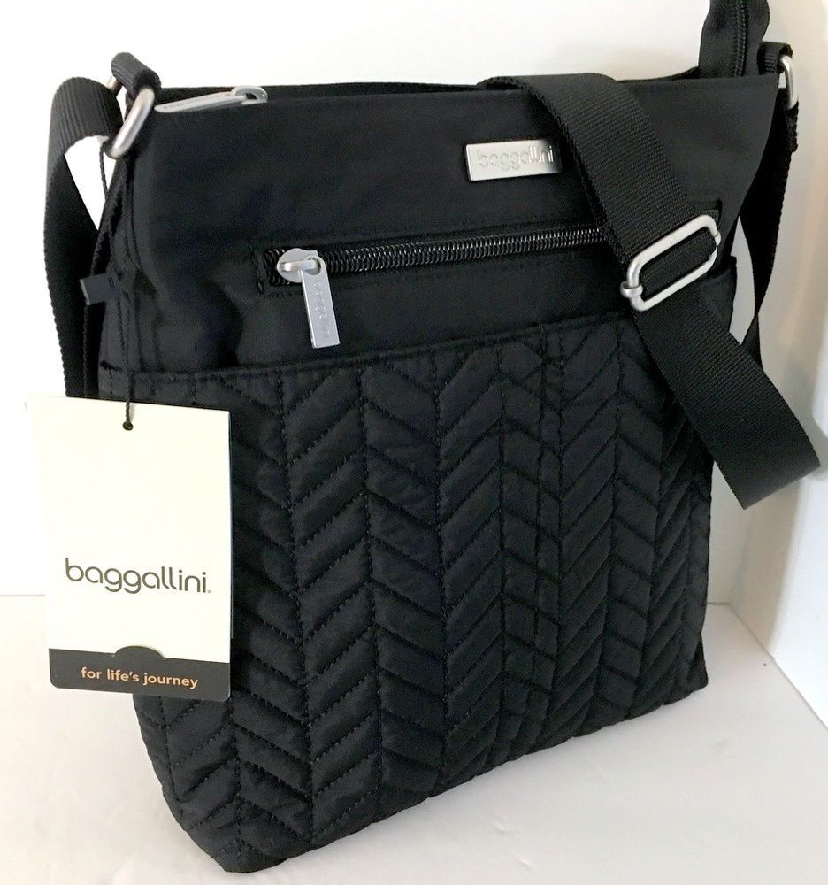 15a1242fa5 NEW BAGGALLINI Quilted Front Crossbody Shoulder Bag Black Nylon 4 Outer  Pockets  Baggallini  Crossbody
