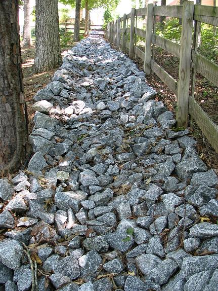 How to build a granite rip rap lined drainage swale on a steep how to build a granite rip rap lined drainage swale on a steep backyard solutioingenieria Images